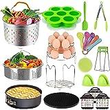 Pressure Cooker Accessories Set - Fit Instant Pot 6 qt 8 Quart, Include Steamer Baskets, Stackable Egg Steamer Rack, Springform Pan, Egg Bites Mold, Oven Mitts and More Instapot Accessory