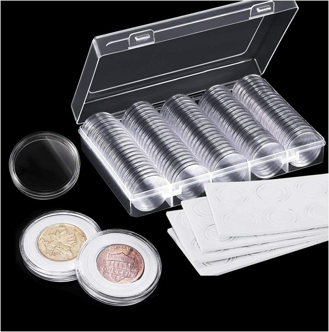 Osuter 100PCS Colección de Monedas Plastico Cápsulas de Monedas con Caja de Almacenamiento para Recolección de Monedas: Amazon.es: Juguetes y juegos