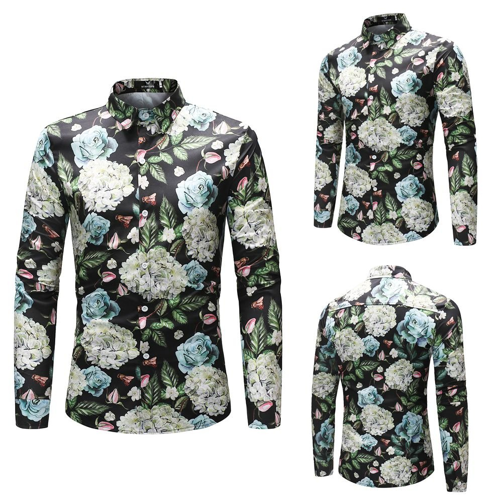 MYMSTORM Men Shirts allover Printed Fashion Style Spring Men's Button Down Shirt (L, CS37) by MYMSTORM (Image #2)