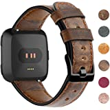 "EZCO Leather Bands Compatible with Fitbit Versa/Versa 2 / Versa Lite, Vintage Genuine Leather Band Replacement Strap Wristband Accessories Man Women 5.5""-7.8"" Wrist Compatible with Versa Smart Watch"