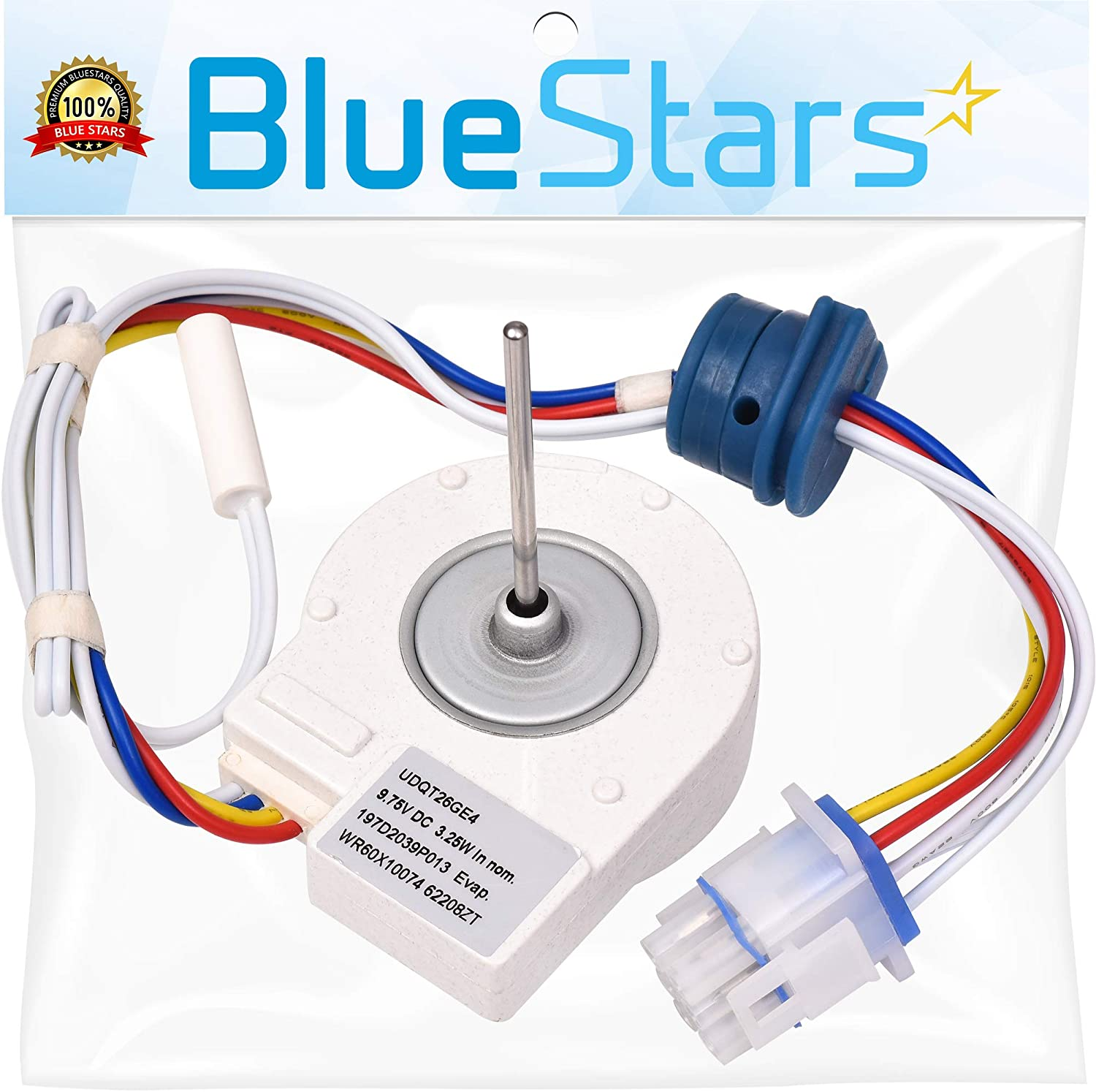 Ultra Durable WR60X10307 Evaporator Fan Motor Replacement Part by Blue Stars- Exact Fit for GE Hotpoint Refrigerators - Replaces 1550741 AP4438809 WR60X10224 Ps2364950