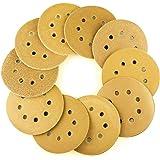 AUSTOR 50 Pieces Gold Sanding Discs, 5 Inch 8 Holes Dustless Hook and Loop 60/80/ 100/120/ 150/180/ 240/320/ 400/800 Grit Sandpaper Assortment for Random Orbital Sander