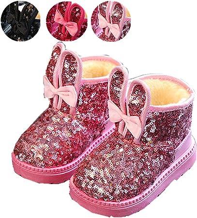Chaussures Bébé Fille, Chickwin Paillettes Bottes Bébé Fille Enfant Confortable Antidérapant Garder Au Chaud Marche de Automne Hiver Bottines