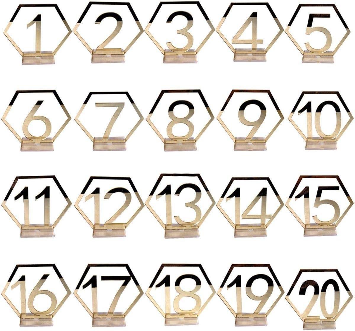 Gdaya Números de Mesa de Boda, 1 – 20 Dorado/Plata acrílico ...