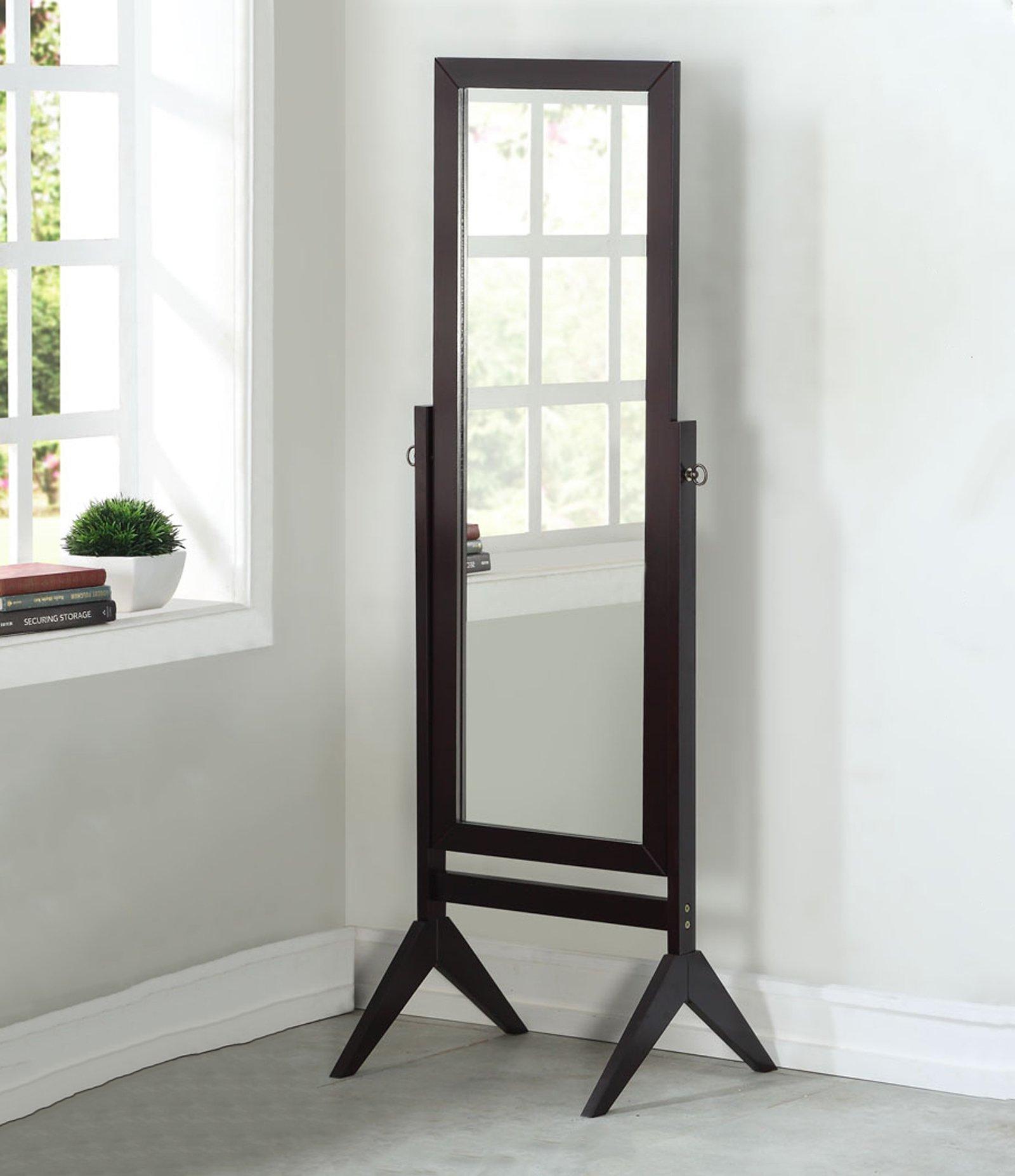 Legacy Decor Wooden Rectangle Cheval Floor Mirror, Free Standing Mirror, Espresso Finish