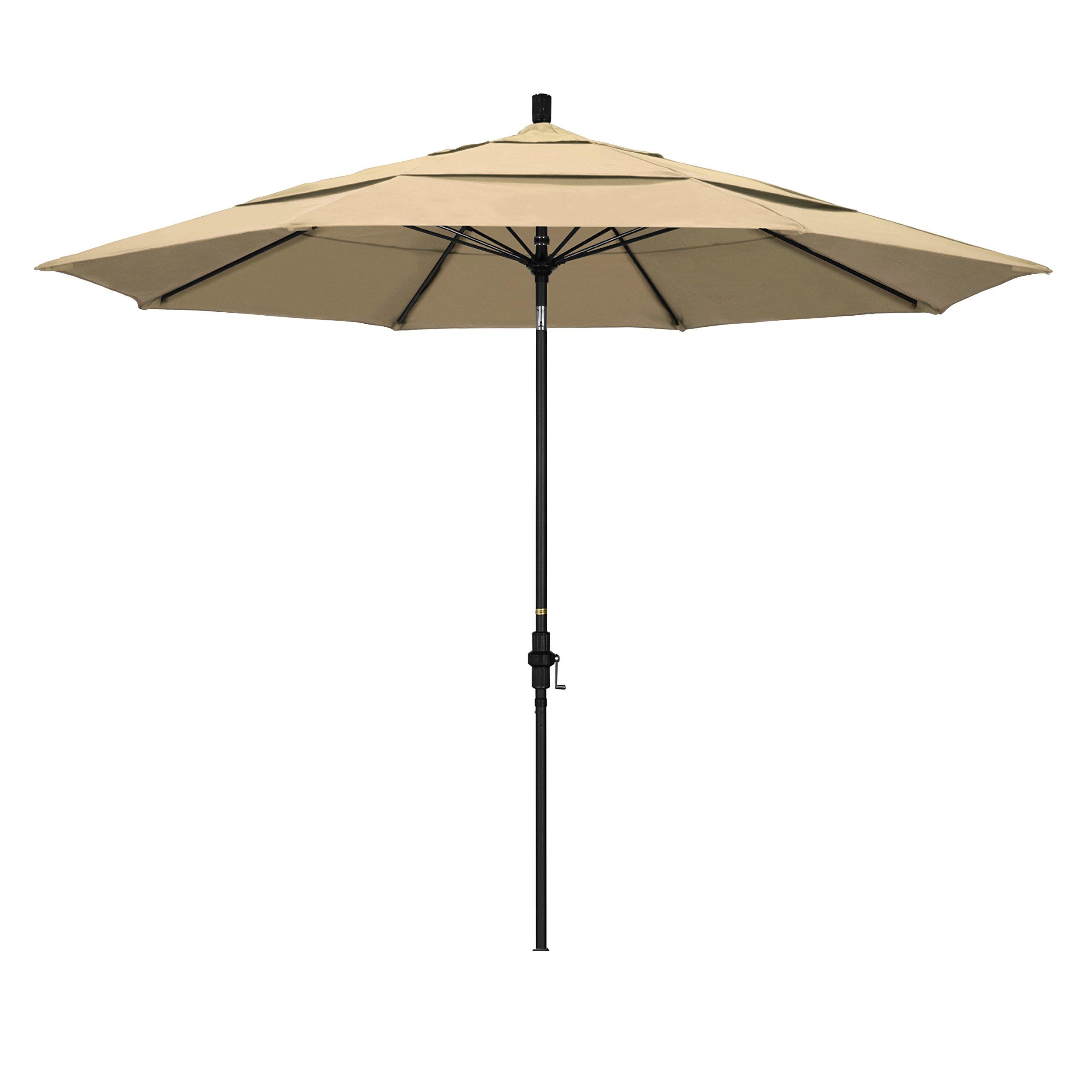 California Umbrella 11' Round Aluminum Pole Fiberglass Rib Market Umbrella, Crank Lift, Collar Tilt, Black Pole, Antique Beige Olefin