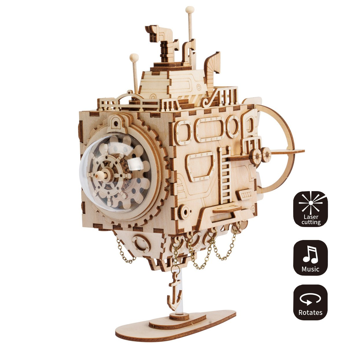 ROBOTIME 3D Laser Cut Wooden Puzzle Hand Crank Music Box Mechanism Submarine Diy kits with Lovely music Best Birthday Gift for Boys and Girls