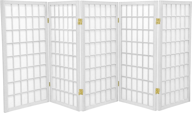 Oriental Furniture 3 ft. Tall Window Pane Shoji Screen - White - 5 Panels