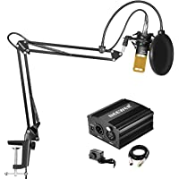 Neewer NW-800 Condenser Microphone Kit with 48V Phantom Power Supply, NW-35 Suspension Scissor Arm Stand, Shock Mount, Pop Filter for Home Studio Recording Broadcast YouTube Live Periscope (Black and Gold)