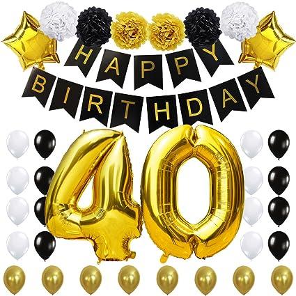 KUNGYO 40 Decoración para Fiestas de Cumpleaños- Happy Birthday Pancarta Negro, 40 Pulgadas Globo de Oro 40
