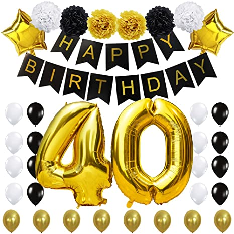 """40TH Birthday Party Decorations Kit- """"Happy Birthday"""" Black Banner,40inches Gold Foil """"40"""" Balloon,Paper..."""