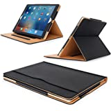 "MOFRED® Black & Tan Apple iPad Pro 12.9"" (2015 & 2017 Version) Leather Case-MOFRED®- Executive Multi Function Leather Standby Case for Apple New iPad Pro with Built-in magnet for Sleep & Awake Feature -- Independently Voted by ""The Daily Telegraph"" as #1 iPad Case!"