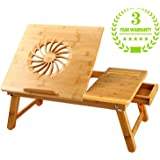 Large Size Laptop Desk NNEWVANTE Bamboo Bed Tray Adjustable Foldable Lap Desk Bed Serving w' Tilting Drawer Supports Laptops Up To 17 Inches