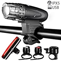 Yomao USB Rechargeable Bike Light Set LED Tail Light, Powerful Lumens Waterproof Bicycle Lights Front and Back for Outdoors, Cycling and Bike Riding.