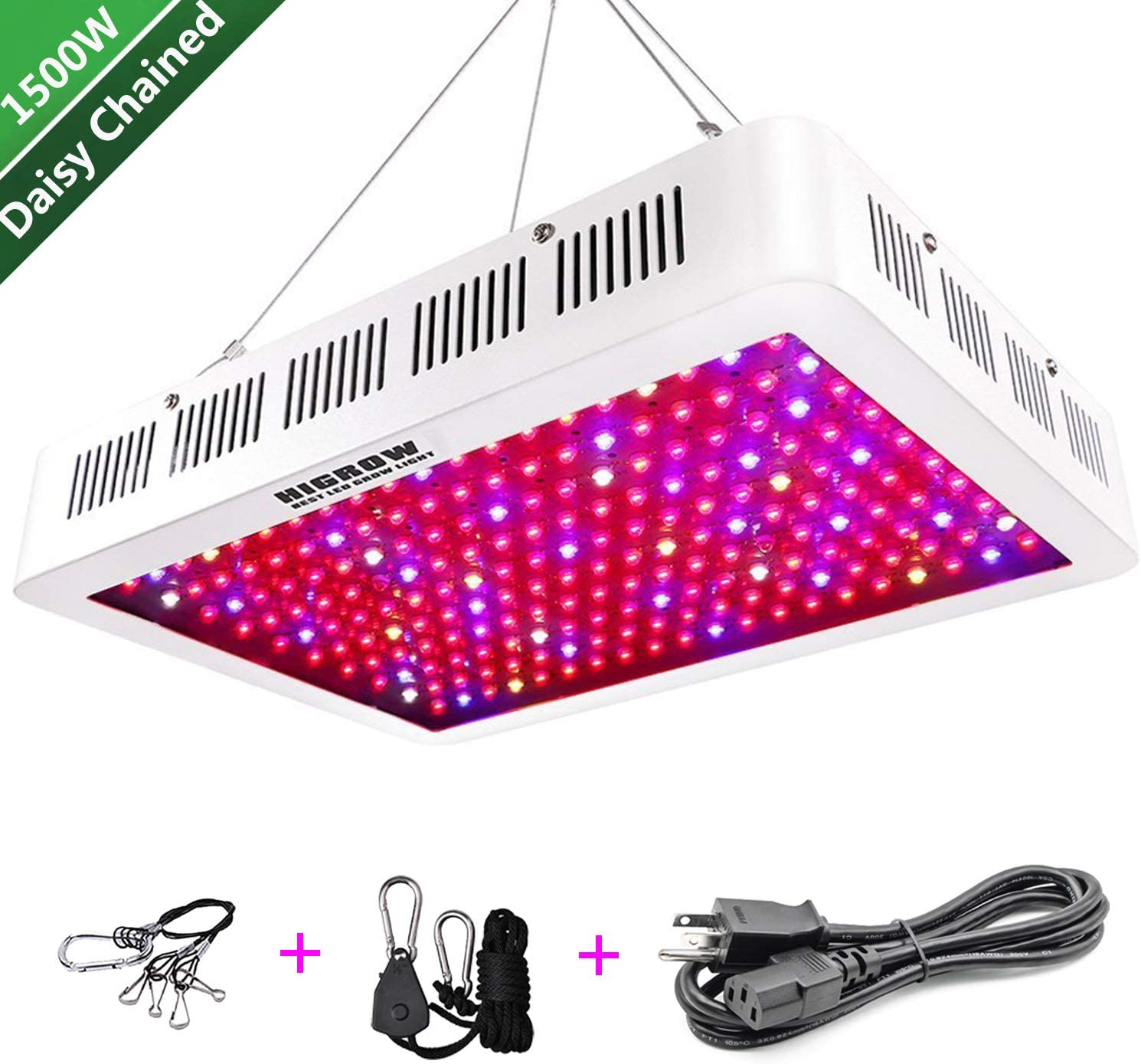 HIGROW 1500W Double Chips LED Grow Light Full Spectrum Grow Lamp with Rope Hanger for Indoor Greenhouse Hydroponic Plants Veg and Flower 10W LED