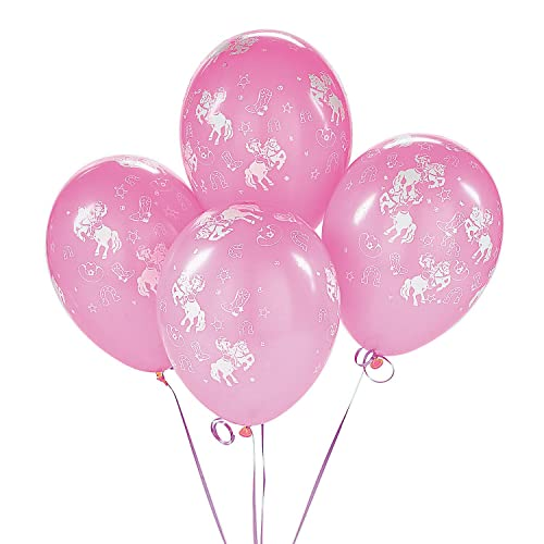 Fun Express Cowgirl Pink Western Rodeo Dance Birthday Party Balloons 25 Pack