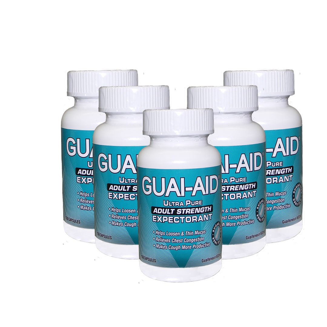 500 Guai-aid/600mg Guaifenesin Ultra-pure Expectorant (5 bottles of 100 Capsules) by GUAI-AID