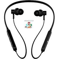 Plus Sports Bluetooth Neckband, Lightweight Wireless and Magnetic Earbuds, Built-in Mic (Black)