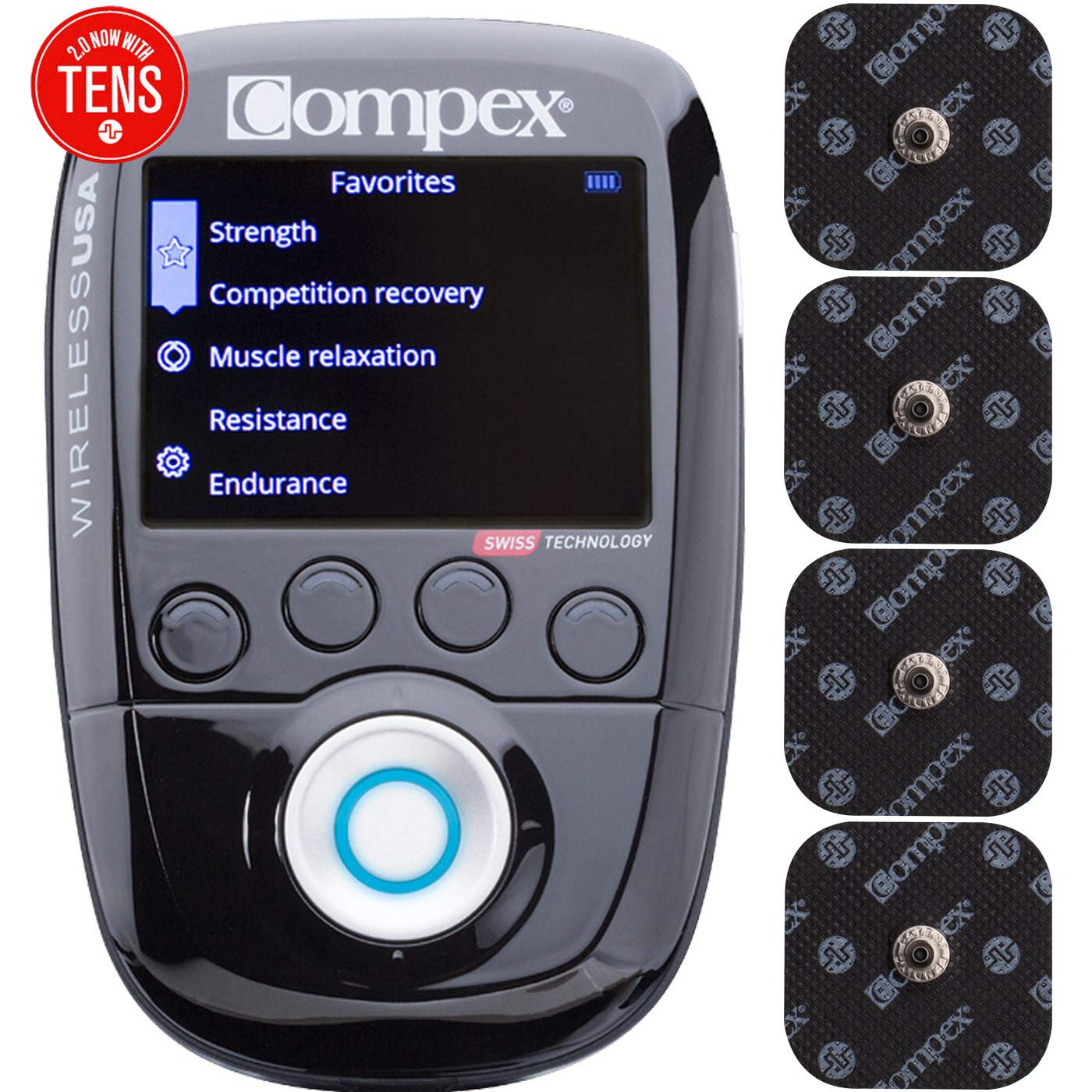 Compex Wireless USA 2.0 Muscle Stimulator w/TENS Bundle Kit: Electric Muscle Stimulation Machine (EMS), 16 Snap Electrodes, 10 Programs, Wireless PODs / 4 Strength / 2 Warm-up / 3 Recovery / 1 TENS by Compex