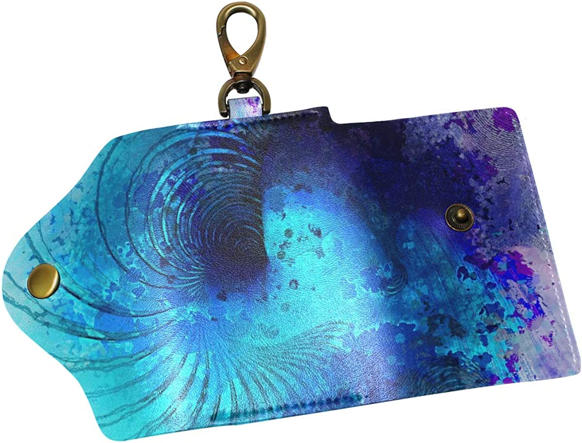 KEAKIA Spiral Wave Leather Key Case Wallets Tri-fold Key Holder Keychains with 6 Hooks 2 Slot Snap Closure for Men Women