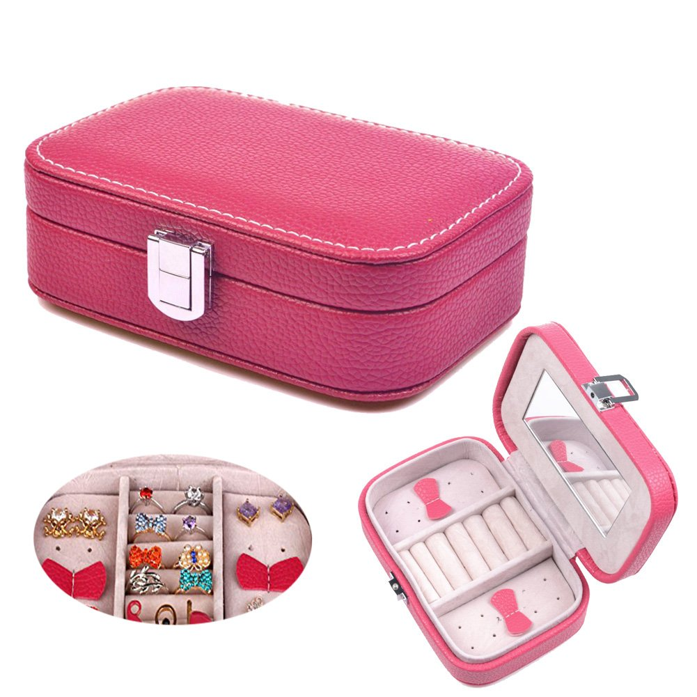 Prime Clearance Sale & Deals Day 2017-Valentoria® Jewelry Box Organizer Display Storage Case Jewelry Case Holder for Travel Home Use (Rose)