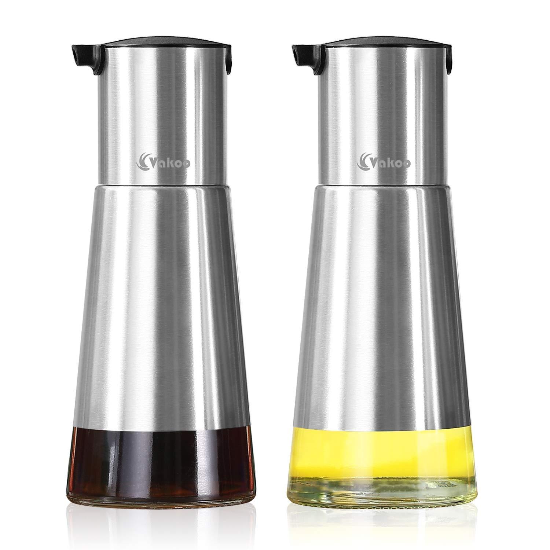 Oil and Vinegar Dispenser Set - Vakoo Leak Proof Olive Oil Bottle With Non-Slip Glass Cruet and Stainless Steel Protective Layer - 16oz Salad Oil Dispensing Cruet Set (8oz / Bottle)