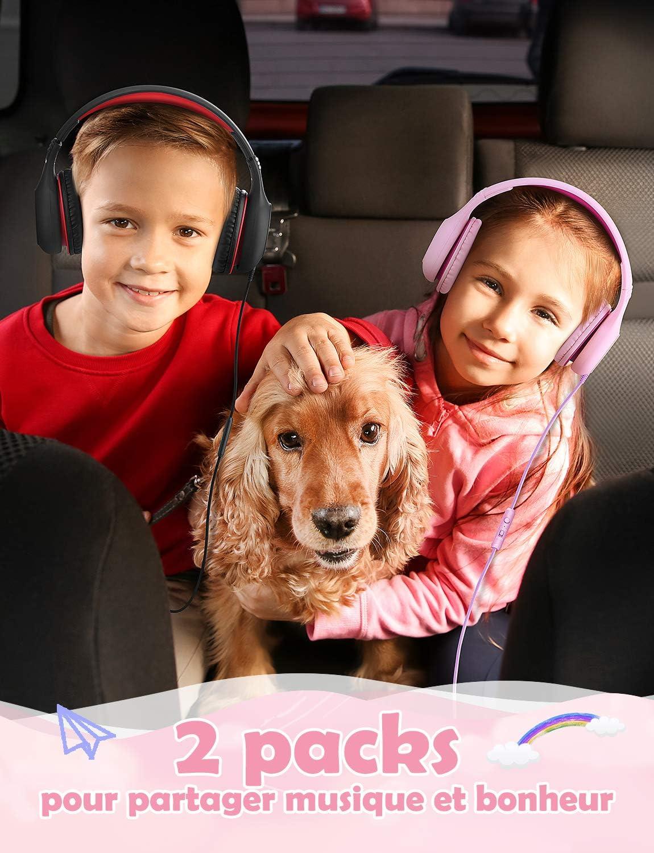 Casque Enfant mp3//4 2 Pack (Blue+Vert) Voyage Fonction Partager Musique Commutateur Volume Limit/é avec Microphone pour Smartphone Lunii Mpow CH6 Enfant /Écouteur etc. PC /École Tablettes