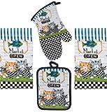 4 Piece Cat Fish Market Kitchen Set - 2 Terry Towels, Oven Mitt, Potholder