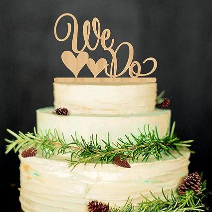 Amazon Com Rosenice Wedding Cake Topper We Do Wood Wedding Cake