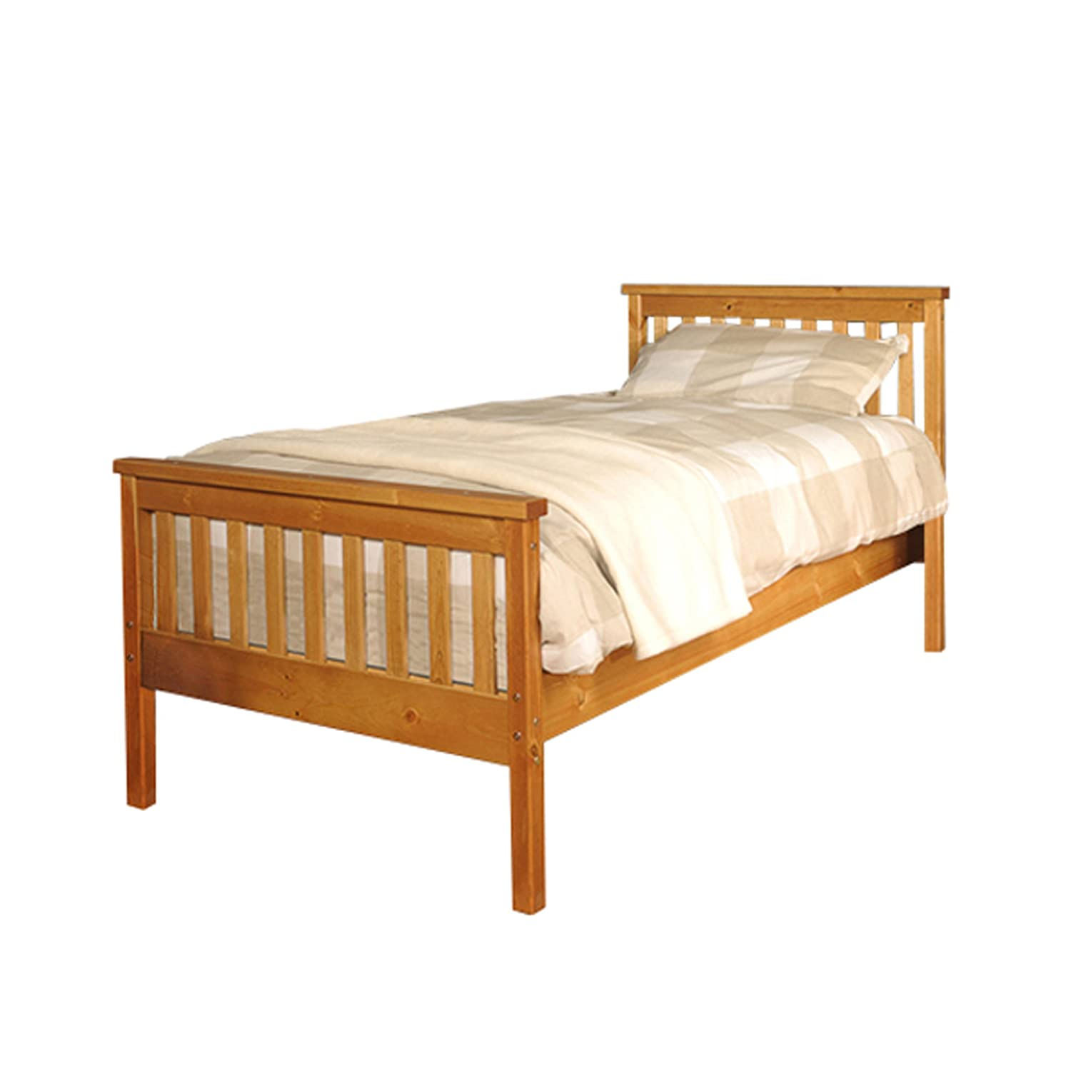 Comfy Living 3ft Single Atlantis Style Wooden Pine Bed Frame in Caramel with Kerri Mattress
