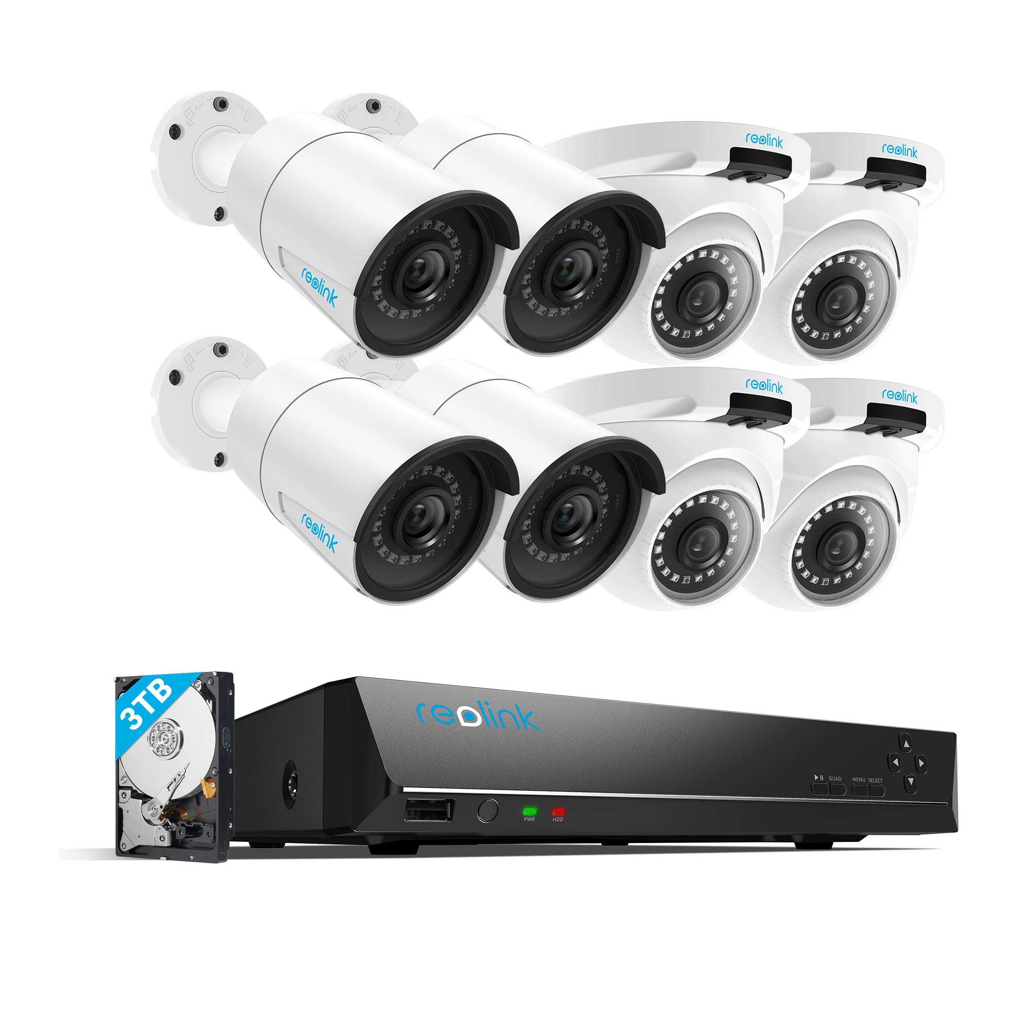 REOLINK 5MP 16CH IP Security NVR System, 4 Bullet and 4 Turret Outdoor 5MP POE Cameras with a 16-Channel 5MP NVR, 3TB HDD pre-Installed, RLK16-410B4D4-5MP by REOLINK