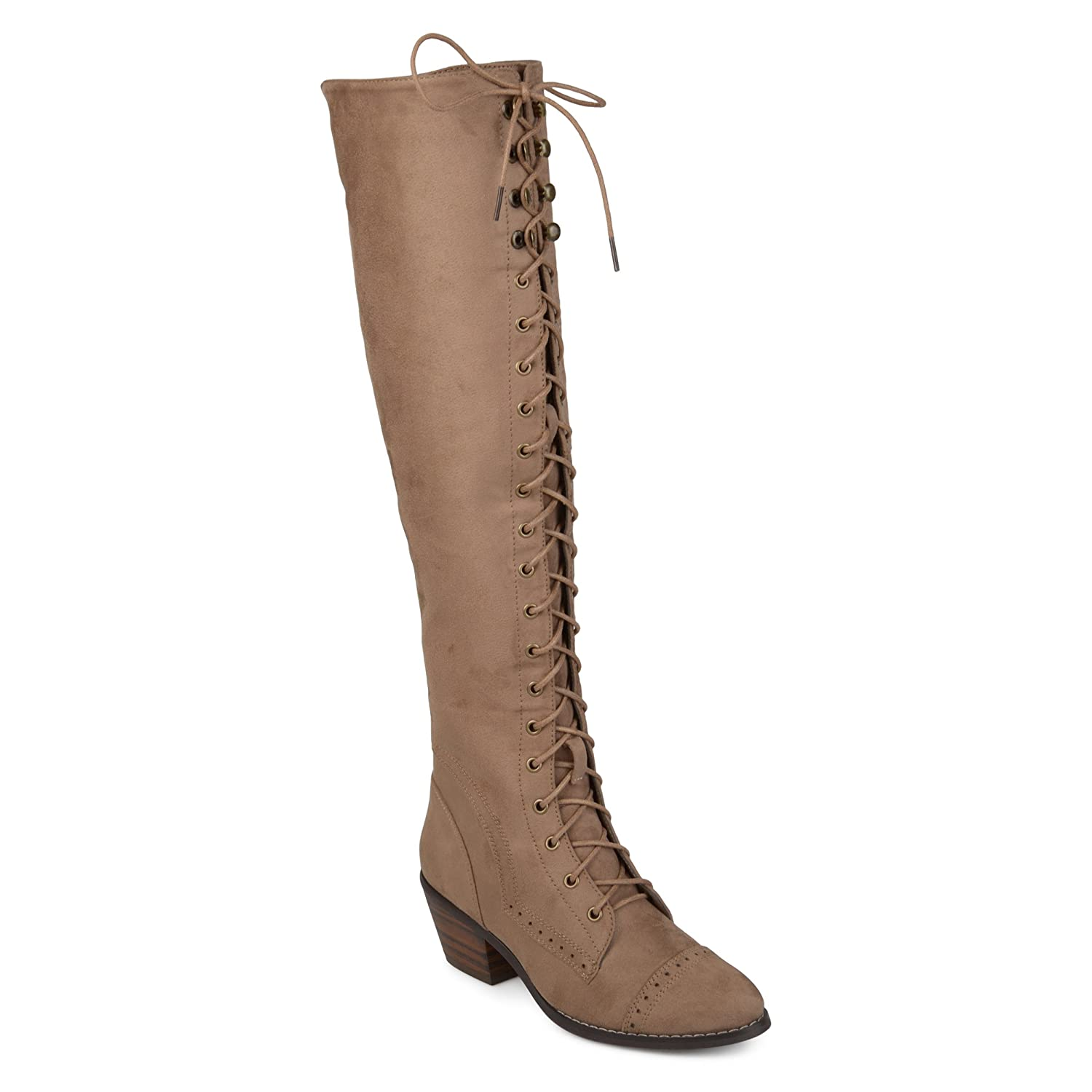 bf7a297dd33 Amazon.com | Journee Collection Womens Regular and Wide Calf Brogue Lace-up  Over-The-Knee Boots | Boots