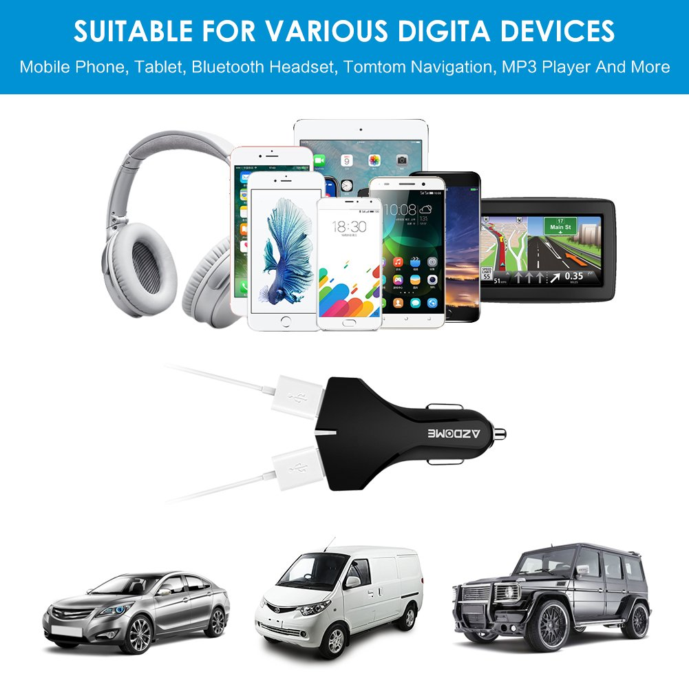 Huawei Carga R/ápida 36W 5V//3A Quick Charge 3.0 HTC y m/ás Azdome Cargador de Coche con Luz LED Carga R/ápida iPad Tipo C para M/óvil con Doble USB Samsung LG Xiaomi para iPhone AZ04