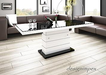 Design Couchtisch Matera Lux H 333 Schwarz Weiß Hochglanz