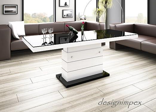 Design Couchtisch Matera Lux H-333 Schwarz/Weiß Hochglanz ...