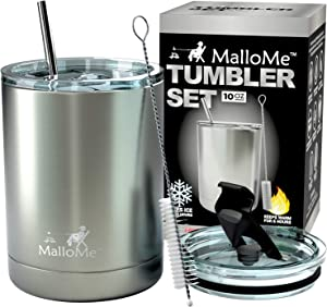 MalloMe Stainless Steel Vacuum Insulated 5-Piece Tumbler Set, Silver 10 oz