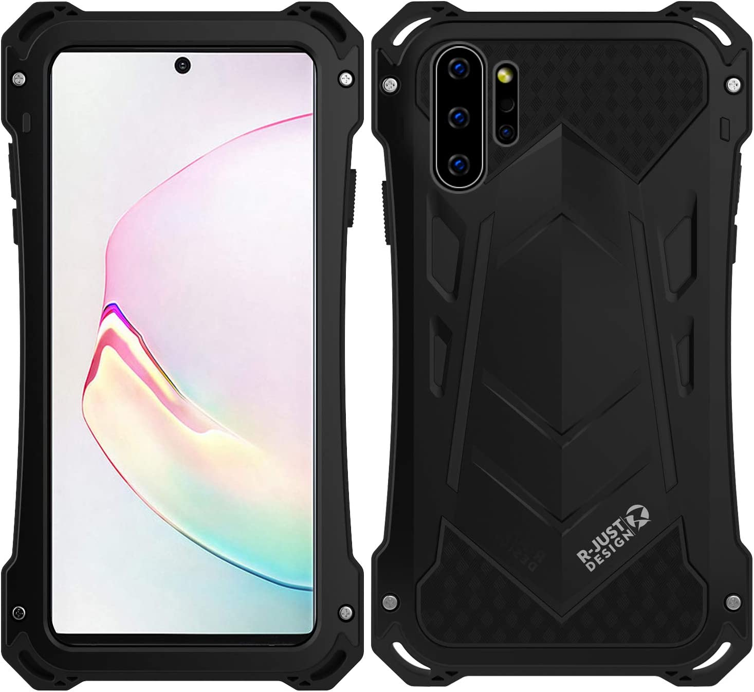 Samsung Note 10 Plus Metal Military Case,HATA Note 10 Plus Metal Bumper Silicone Heavy Duty Case Hybrid Rugged Armor Sturdy Shockproof Full Body Defender Outdoor Cover for Samsung Note 10 Plus(Black)