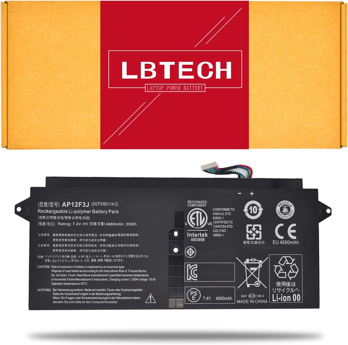 LBTECH AP12F3J Compatible Laptop Battery Replacement for Acer Aspire 13.3-Inch S7 Touchscreen Ultrabook S7 Ultrabook S7-391 S7-392 S7-393 Series 2ICP3/65/114-2 7.4V 35Wh