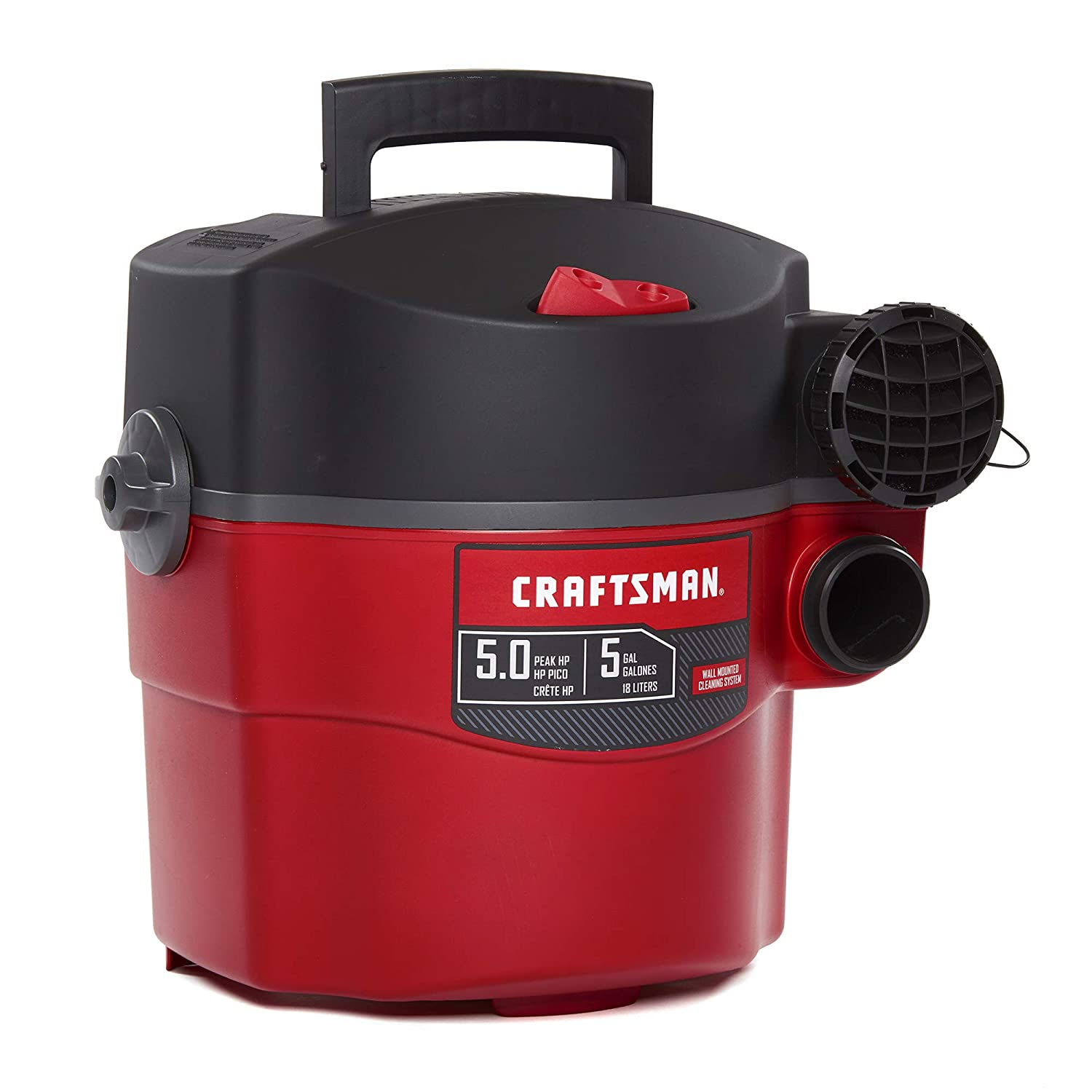 CRAFTSMAN CMXEVBE17925 5 Gallon 5 Peak HP Wet Dry Wall Vac, Wall-Mounted Shop Vacuum with Attachments