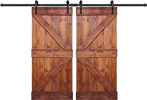WELLHOME 2 sets of DIY Solid Knotty Pine Wooden Sliding Barn Door with 2 Hardware Kits - K Series - Interior Barn Door