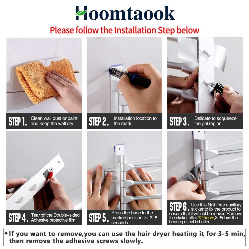 Hoomtaook Toallero de barra giratorio, Aluminio aeroespacial, Toallero de baño para pared, Soporte con 4 barras giratorias, Toallero giratorio para baño o ...