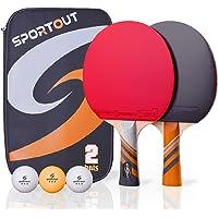 Easy-Room - Raqueta de Ping Pong con 2 Raquetas y 3 Pelotas y Raqueta de Ping Pong con Funda (Advanced Play)
