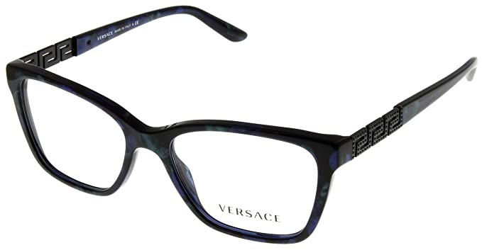 a8fcf76a9433 Image Unavailable. Image not available for. Color  Versace Women Eyeglasses  Designer Marbled Black Green Blue Rectangular VE3192B 5127