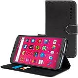 Cover Nexus 6, Snugg Google Nexus 6 Flip Custodia Case [Slot Per Schede] Pelle Portafoglio Progettazione Esecutiva [Garantita a Vita] - Nero, Legacy Range