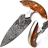 - 9835-S-MGJ - Best Damascus Knives - Beautiful Handmade Damascus Steel Cheese Cutting Knife With Sheath