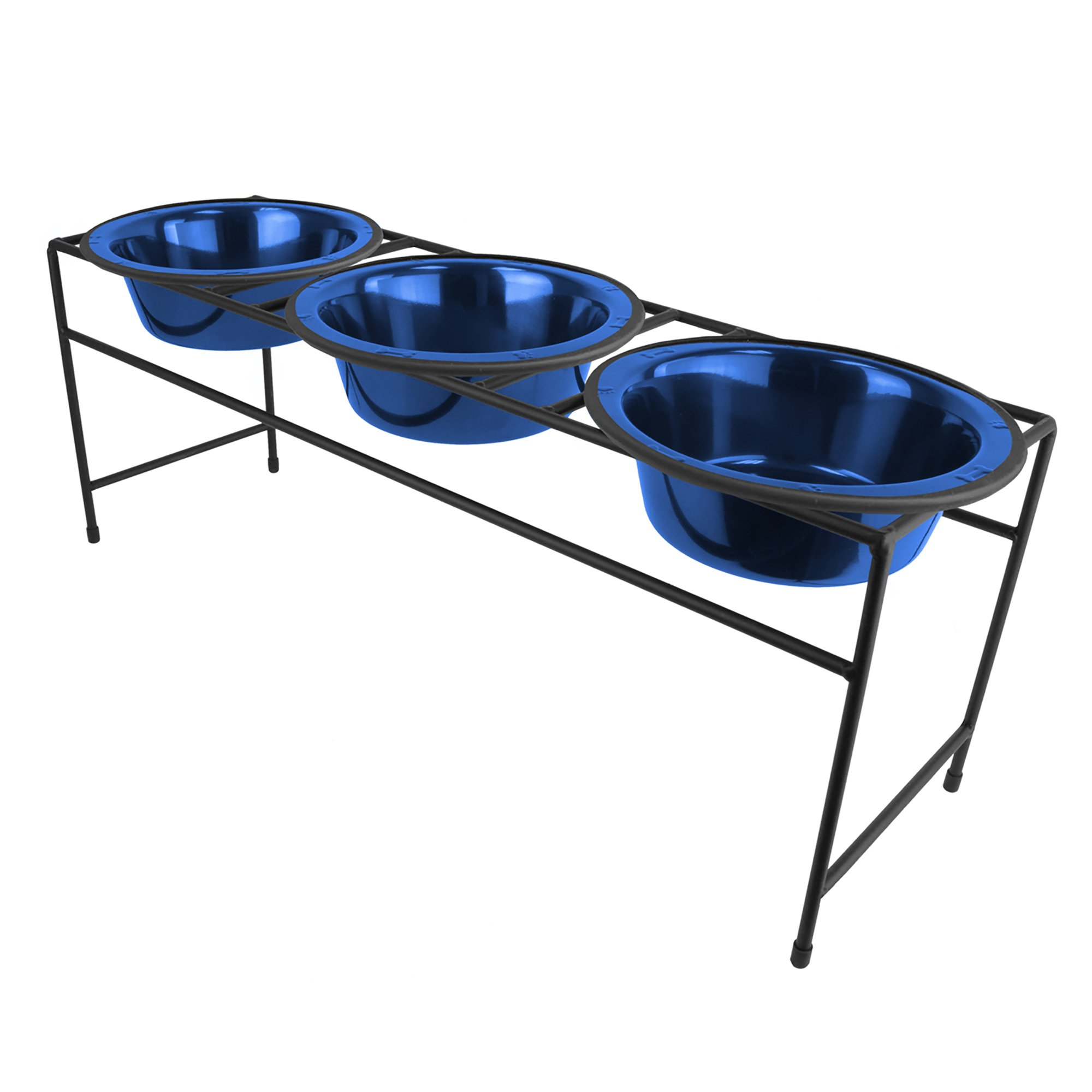 Platinum Pets Triple Diner Feeder with Stainless Steel Dog Bowls, 6.25 cup/50 oz, Sapphire Blue