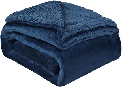 """uxcell Sherpa Fleece Blanket Reversible Plush Flannel Throw Blanket Fuzzy Soft Microfiber Blanket for Sofa Couch or Bed, Navy Blue-Navy Blue Reverse Twin-59"""" x 78"""""""