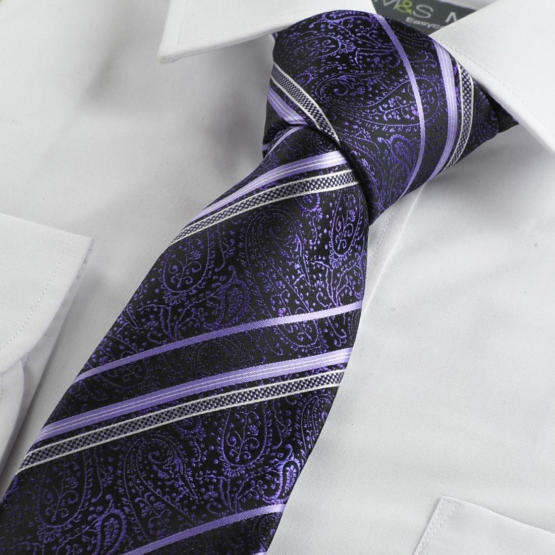 Purple black geometric pattern striped mens tie