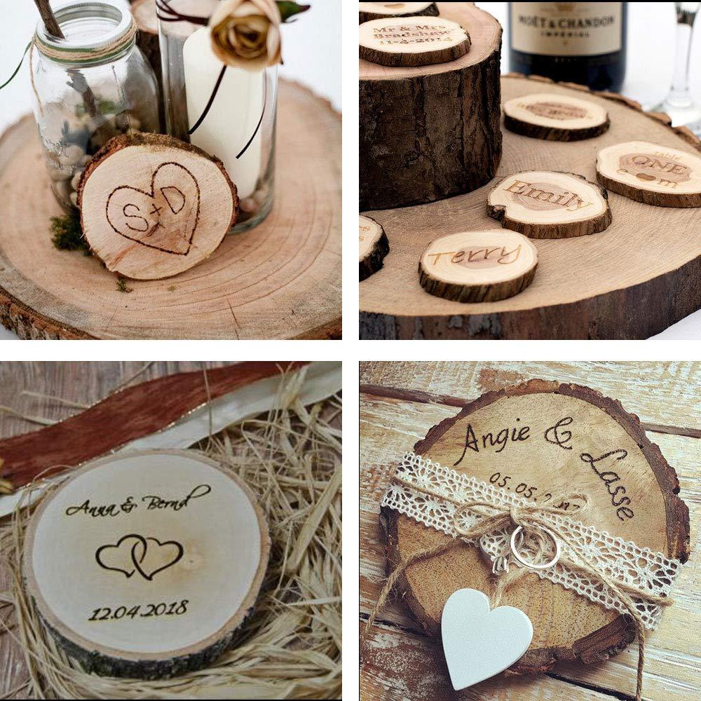 Nahuaa 30pcs Rondin de Bois Naturel Rondelle de Bois/Tranche de Bois Brut pour DIY Mariage Artisanat D/écoration Etiqutte Bricolage 4-5cm