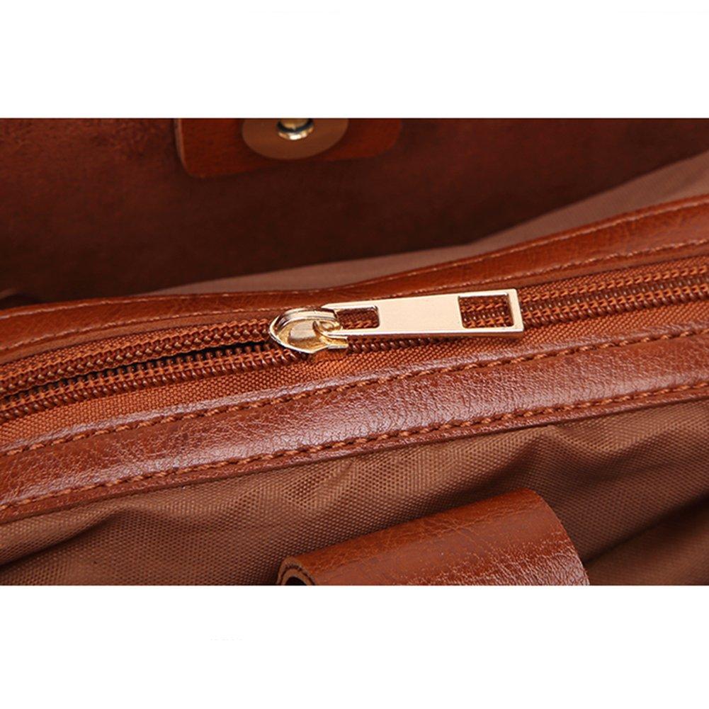YEMEKE PU Shoulder Bag For Women Functional Multi Pocket Light Weight Medium Cross-body Bag With Tassel